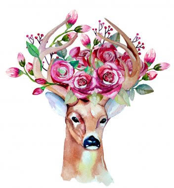 hand drawn deer with flowers