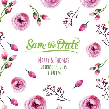 Save the date with floral elements