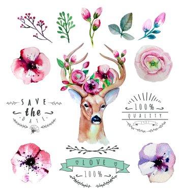 floral set with deer