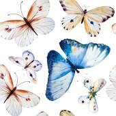 Akvarell pillangók, varrat nélküli vintage virágmintás háttérb