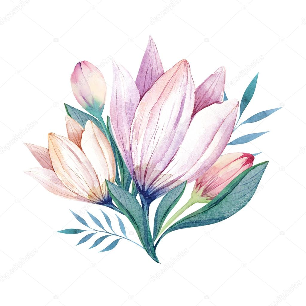 Flowers set. Colorful floral bouquet with leaves and flowers, dr