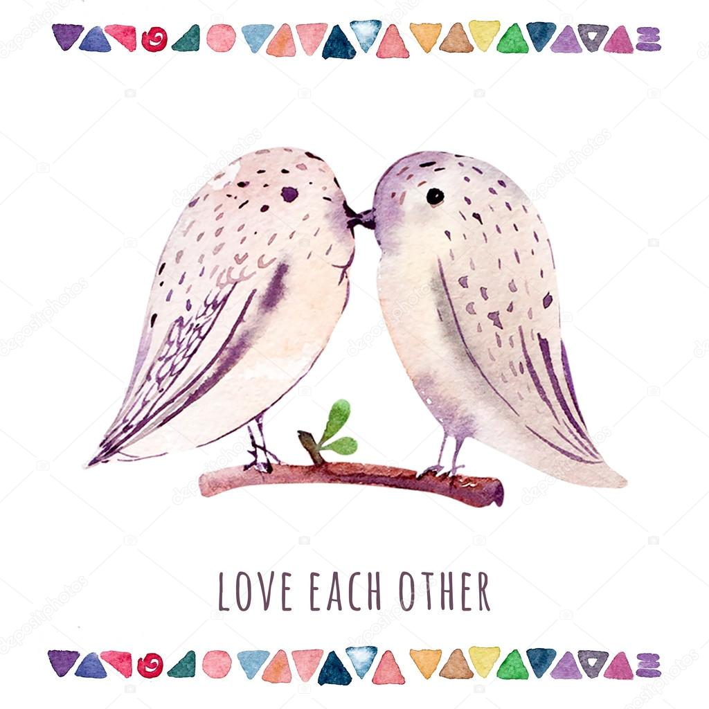 Watercolor wedding card with birds. Love each other.