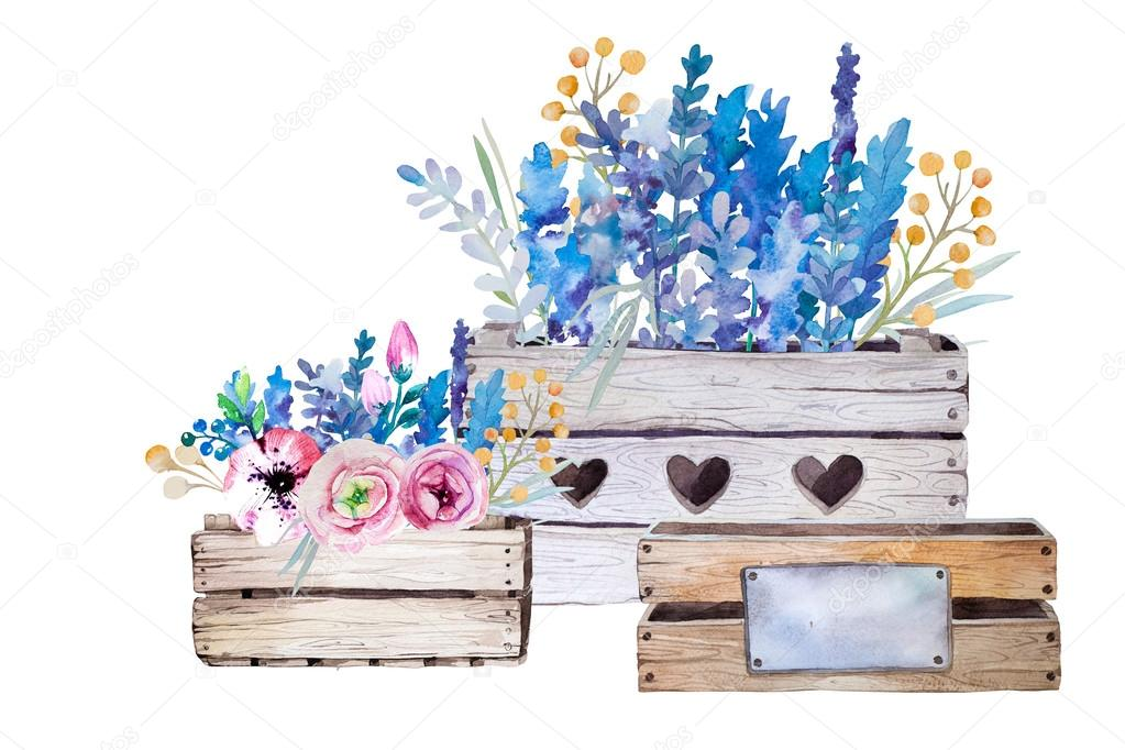 Watercolor flowers wooden box.Hand-drawn vintage illustration.