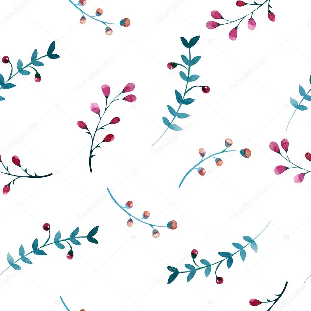 Seamless pattern of flowers and leaves.