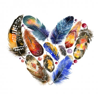 Boho style heart with bird feathers. Vintage watercolor