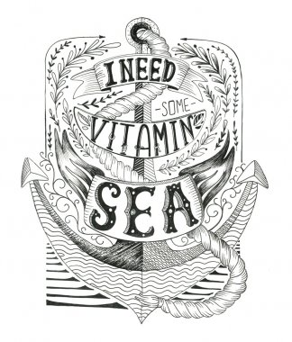 Hand drawn vintage label with an anchor and lettering.