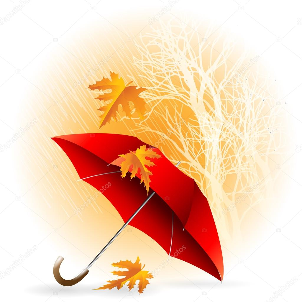 Umbrella and Rain. Autumn Icon Minimalistic Style Vector