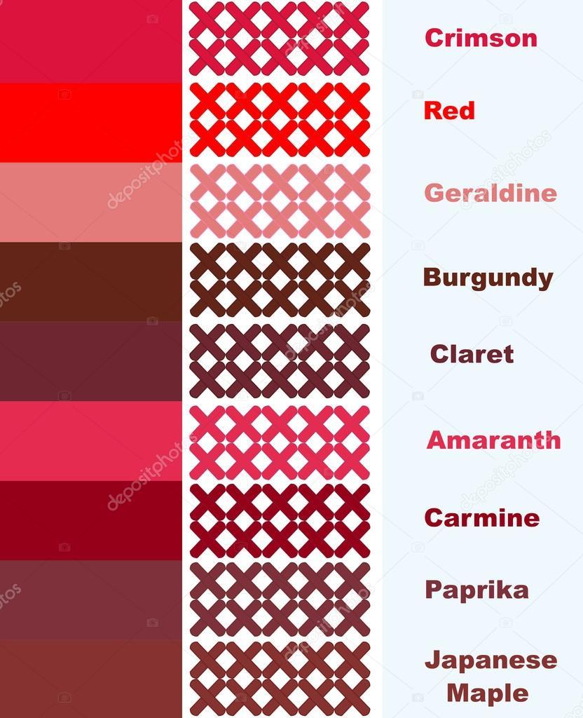 Beispiele Für Kreuzstich In Rote Farbpalette Mit Namen