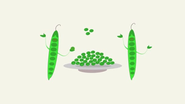 Fröhliche Hülsen grüner Erbsen. Animierte grüne Erbsenwerbung. Erbsen auf einem Teller. Zwei grüne Erbsenschoten werden auf einen Teller geworfen