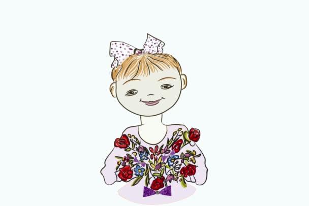 Animált grafika egy virágos lányról HD. Egy érzelmes és vidám lány kezében egy csokor virággal. Mosoly. Szülinapi üdvözlet és egyéb ünnepek, videók kombinálása és szerkesztése