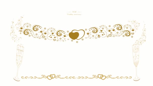 Invitation to the 50th wedding anniversary. Beautiful graphic animation. Golden anniversary. Glasses of champagne. Decorative abstract wreath. Gold rings