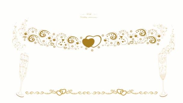 Meghívó az 50. házassági évfordulóra. Gyönyörű grafikus animáció. Arany évforduló. Egy pohár pezsgő. Dekoratív absztrakt koszorú. Arany gyűrűk