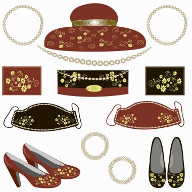 Fashion accessories for women. Original collection of hat, shoes, small handbag, face masks, bracelets, napkins, beads, pearls. Floral print. illustration