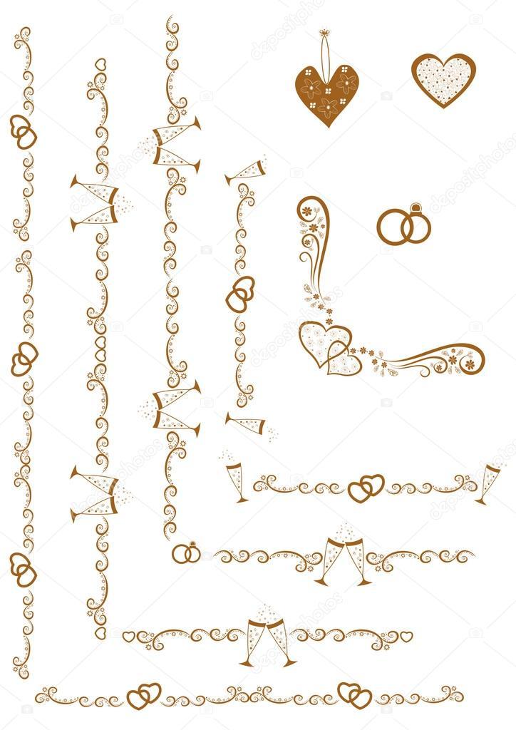 Set de bordes oro con elementos de la boda de marcos — Archivo ...