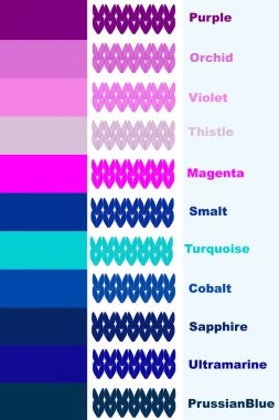 Set knitted stripes in cold color palette with color name