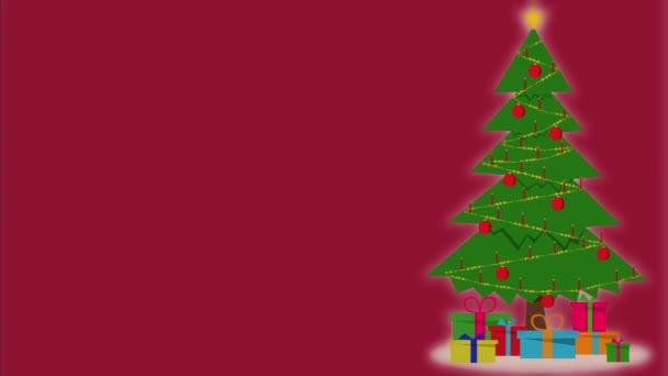 Animované vánoční přání. Animace vánočního stromku s hořícími svíčkami na červeném pozadí.