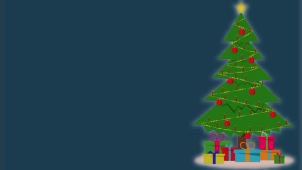 Animované vánoční přání. Animace vánočního stromku s hořícími svíčkami na benzinovém pozadí.