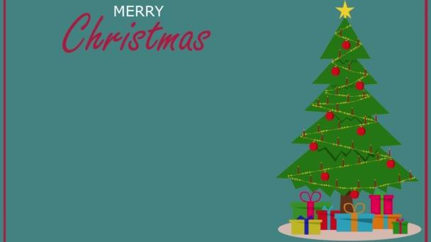 Animované vánoční přání šablony s vánoční stromeček a blikající vánoční svíčky na modrém pozadí. Veselé vánoční šablony.