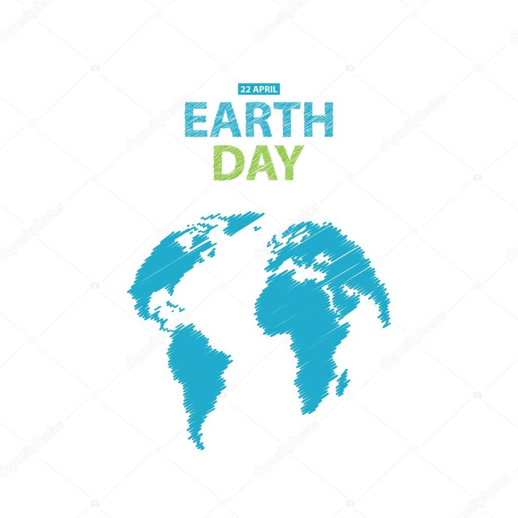 Tag der Erde in blauen Farben. Vektor-Illustration ...