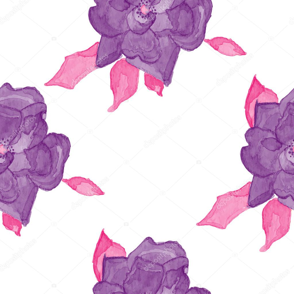 watercolor rosehip seamless pattern