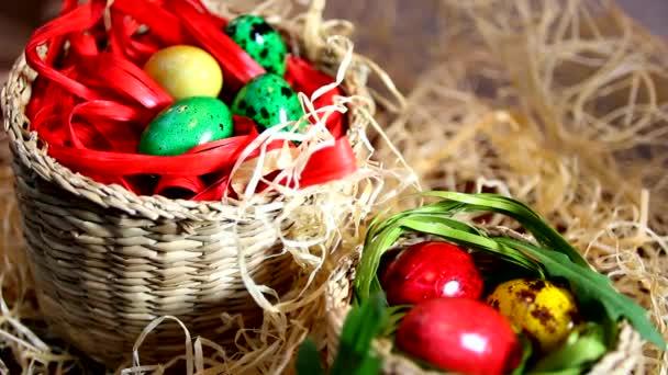 Lovely Easter eggs in baskets
