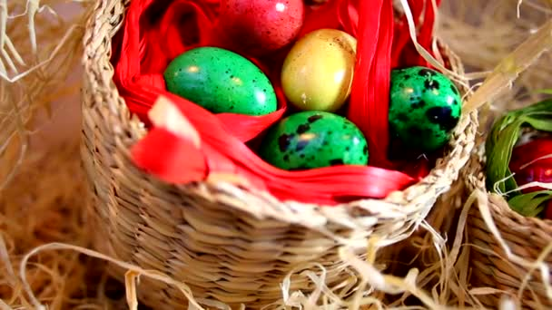 Quail Easter eggs in baskets