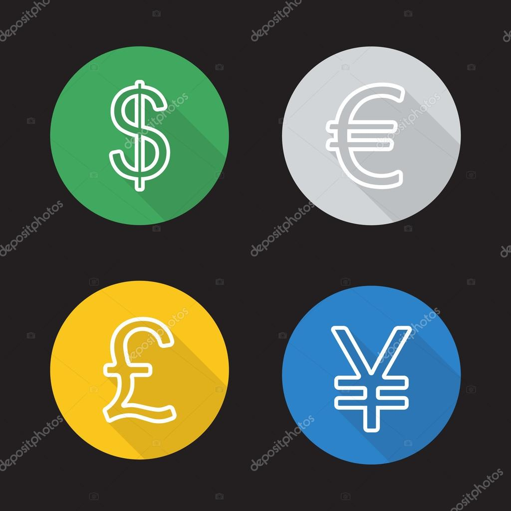 Exchange Currency Rates Icons Set Bsd