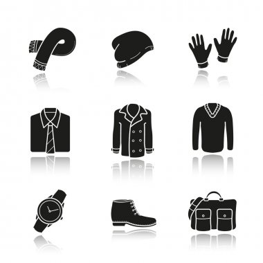 Men's clothes and accessories icons set