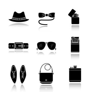 Men's accessories icons set