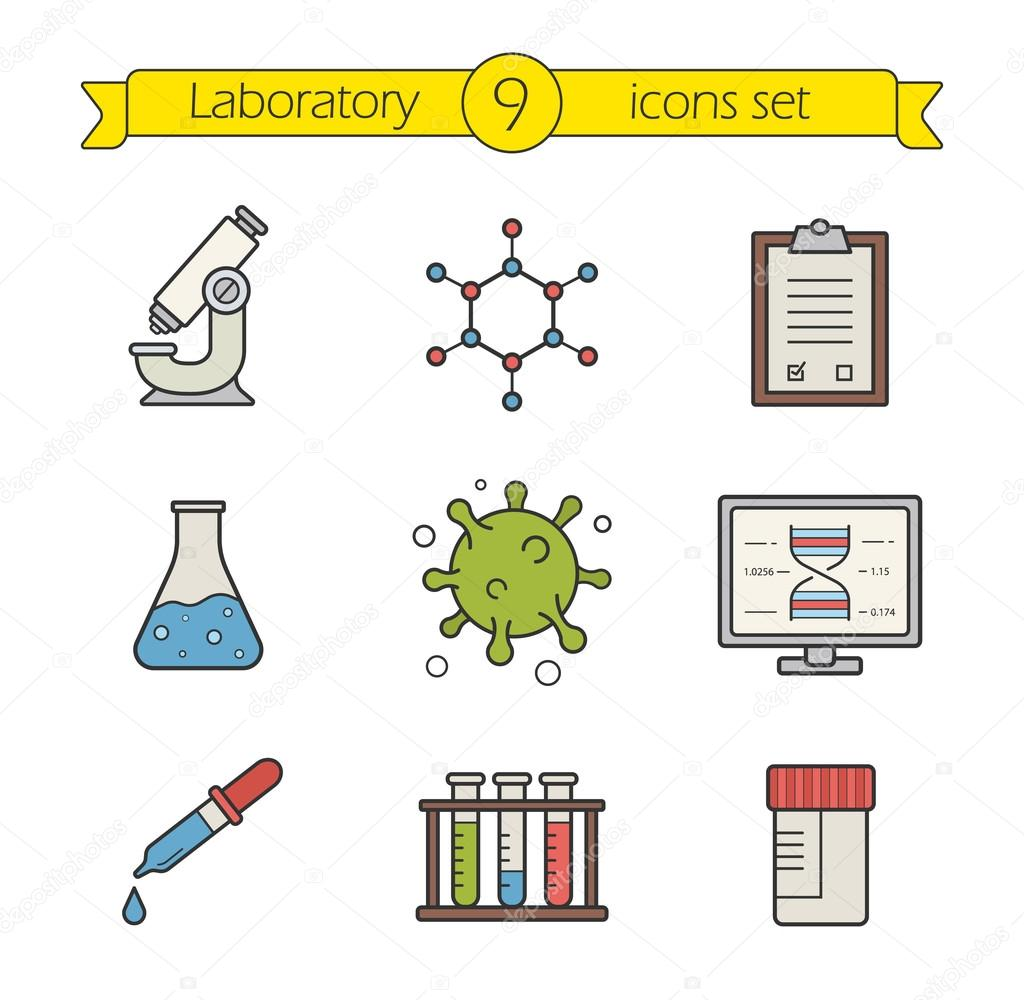 science laboratory tools icons set stock vector