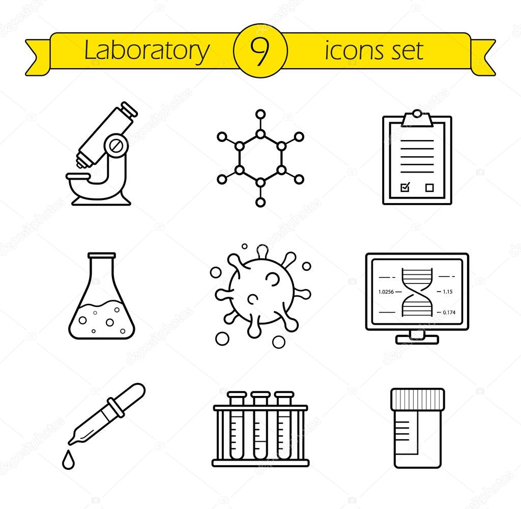 laboratory tools icons set stock vector