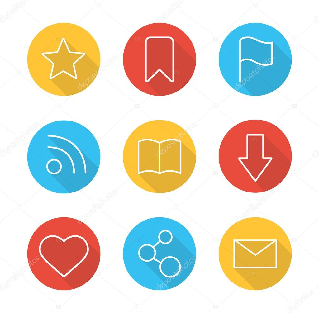Web Browser Flat Linear Icons Set Stock Vector Bsd 109400230