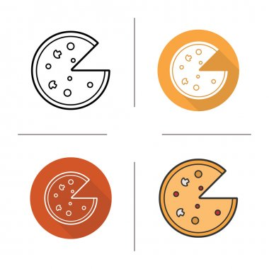 Pizza icons Flat design