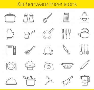 Kitchenware linear icons