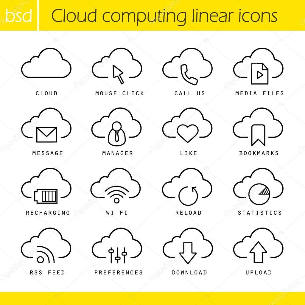 Cloud computing linear icons