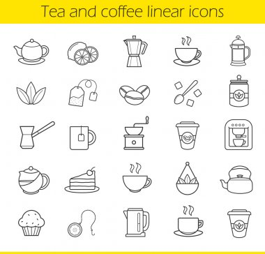Tea and coffee linear icons set
