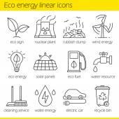 Photo Eco energy linear icons set