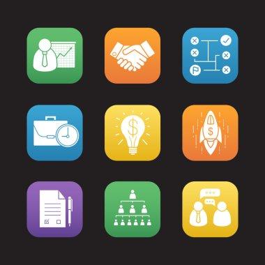 Business flat design icons set