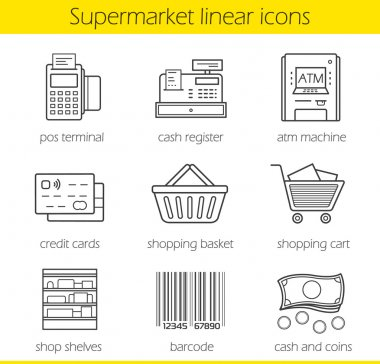 Supermarket shopping linear icons set