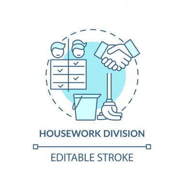 Housework division concept icon. Changing gender roles. Cleaning duty options. Cleaning responsibilities idea thin line illustration. Vector isolated outline RGB color drawing. Editable stroke icon