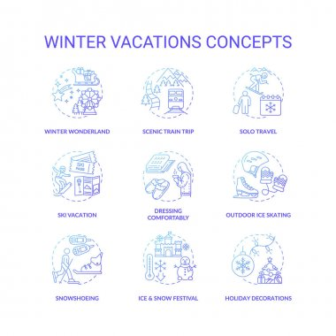 Winter vacations concept icons set. Holiday pastime idea thin line RGB color illustrations. Ice and snow festival. Ski vacation. Ice skating. Holiday decorations. Vector isolated outline drawings icon
