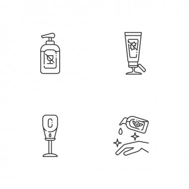 Disinfectant hand sanitizers linear icons set. Alcohol free liquid soap for virus protection. Customizable thin line contour symbols. Isolated vector outline illustrations. Editable stroke icon
