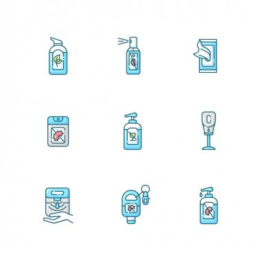 Hand sanitizers blue RGB color icons set. Antibacterial gel. Disinfectant liquid soap in tube. Personal hygiene care. Product for infection and virus prevention. Isolated vector illustrations icon