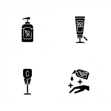 Disinfectant hand sanitizers black glyph icons set on white space. Alcohol free liquid soap. Antibacterial gel in tube for infection precaution. Silhouette symbols. Vector isolated illustration icon