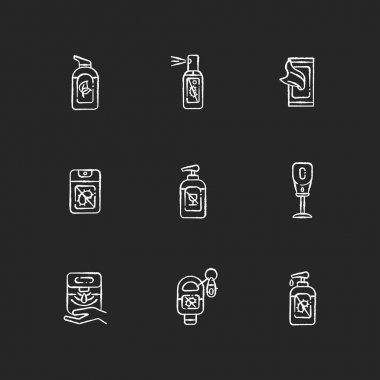 Hand sanitizers chalk white icons set on black background. Antibacterial gel. Disinfectant liquid soap in tube. Product for infection and virus prevention. Isolated vector chalkboard illustrations icon