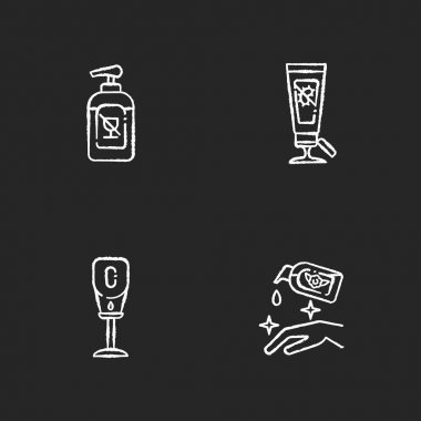 Disinfectant hand sanitizers chalk white icons set on black background. Alcohol free liquid soap for virus protection. Antibacterial gel in tube. Isolated vector chalkboard illustrations icon