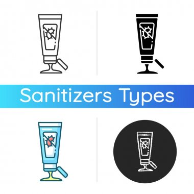 Gel hand sanitizer icon. Disinfectant skincare product. Antibacterial lotion in tube. Germs killing liquid soap. Virus prevention. Linear black and RGB color styles. Isolated vector illustrations icon