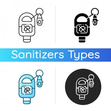 Keyring sanitizer icon. Keychain holder for tube with liquid soap. Pocket wash for hand sanitation. Gel in bottle for personal hygiene. Linear black and RGB color styles. Isolated vector illustrations icon