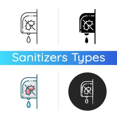 Wall mounted sanitizer icon. Touchless automatic dispenser. Liquid soap in bathroom. Sanitary product. Virus and infection prevention. Linear black and RGB color styles. Isolated vector illustrations icon