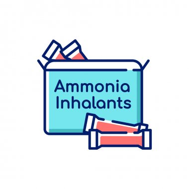 Ammonia inhalants RGB color icon. Smelling salts or respiratory problem. Flu treatment. Powder pack for nasal inhalation. Remedy for lightheadedness. Medical help. Isolated vector illustration icon
